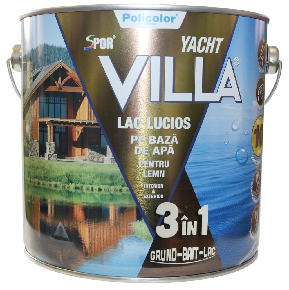 Lac pentru lemn Spor Villa Yacht, cires, pe baza de apa, interior / exterior, 2.5 L
