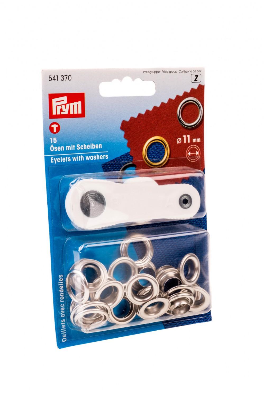 Ocheti metalici 11 mm, cu saiba, pentru confectii + dispozitiv montare, Prym 114541 370