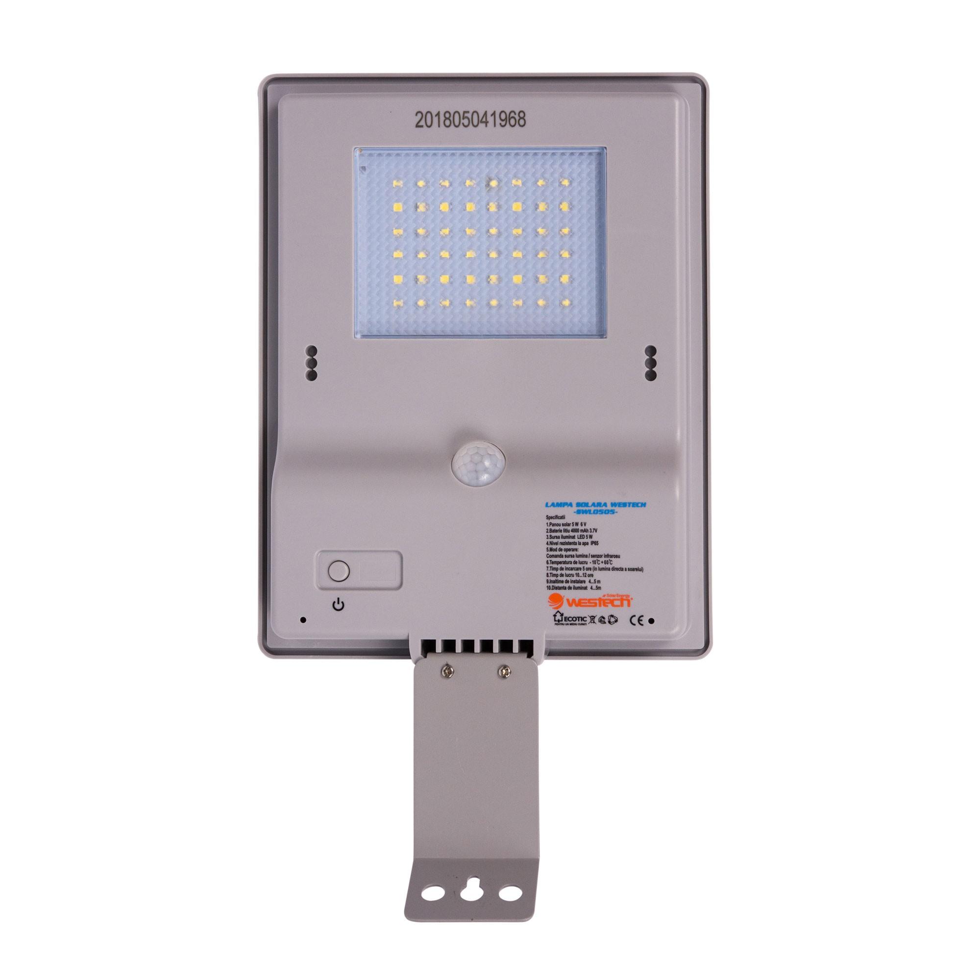 Dedeman Corp De Iluminat Solar Stradal Led Westech Swl0505 5w Senzor De Miscare Gri Ip65 Dedicat Planurilor Tale