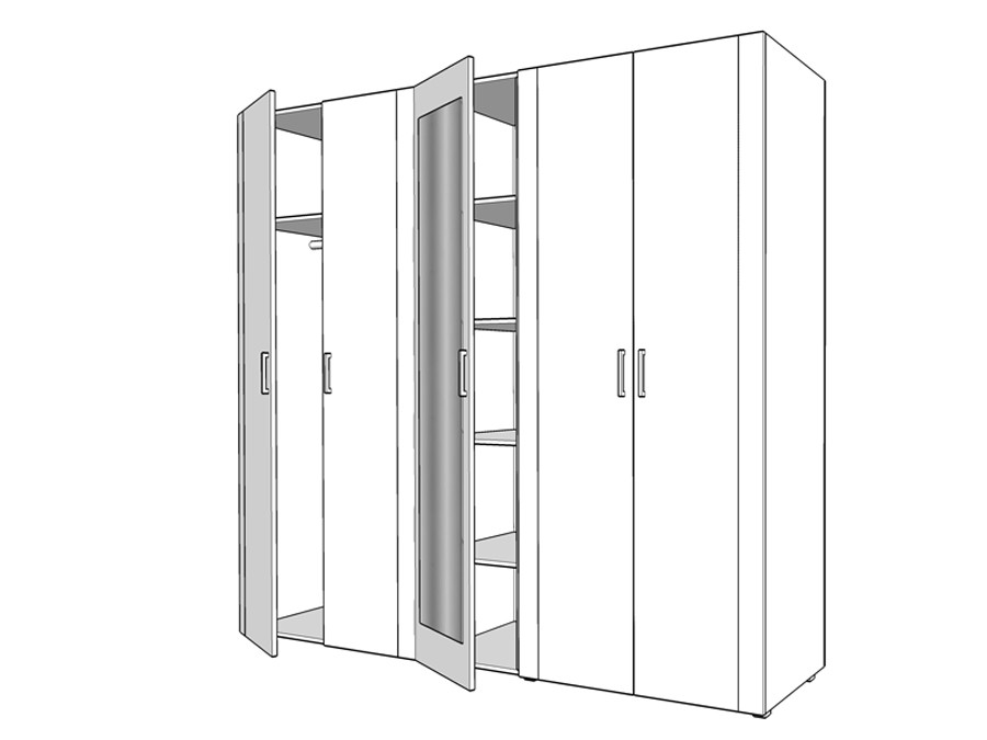 Dulap Dormitor Luna 5k1o Stejar Sonoma Wenge Alb 5 Usi Cu Oglinda 2235 X 535 X 206 Cm 6c