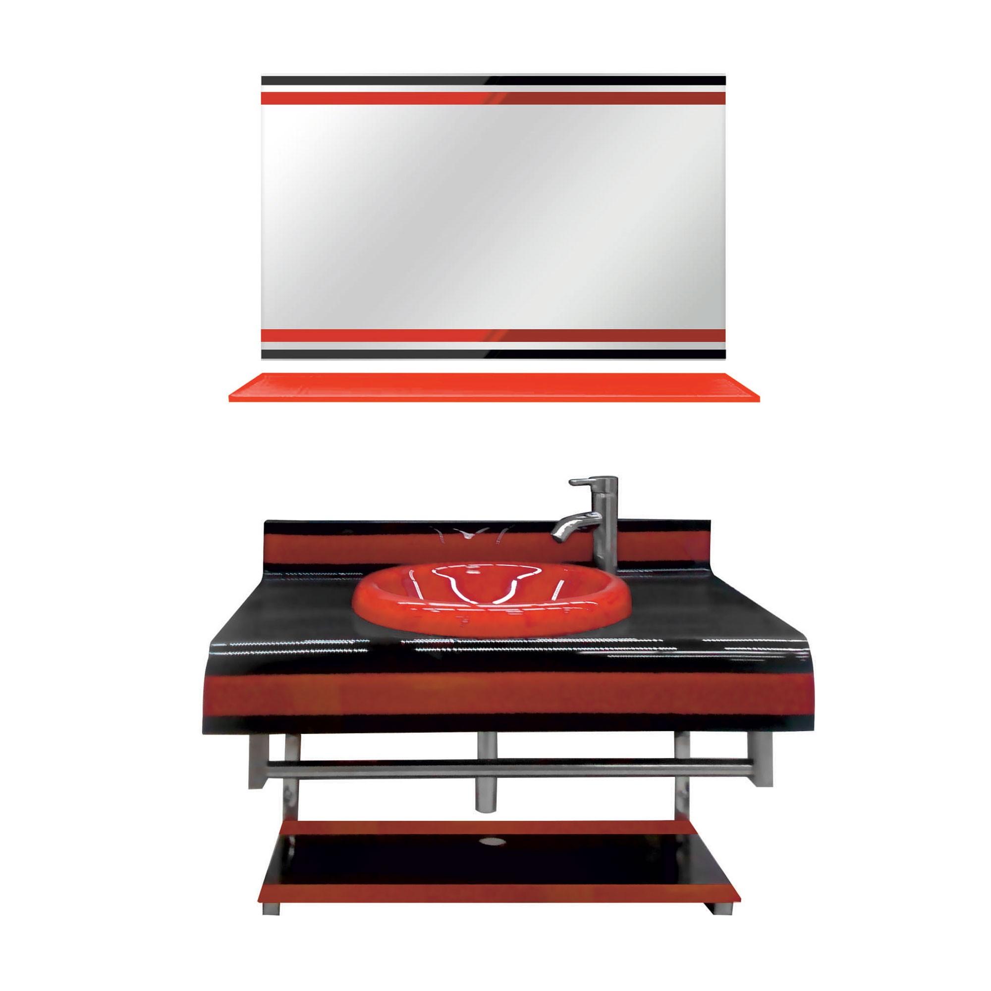Dedeman Masca baie + lavoar + oglinda 1181, rosu, montaj suspendat