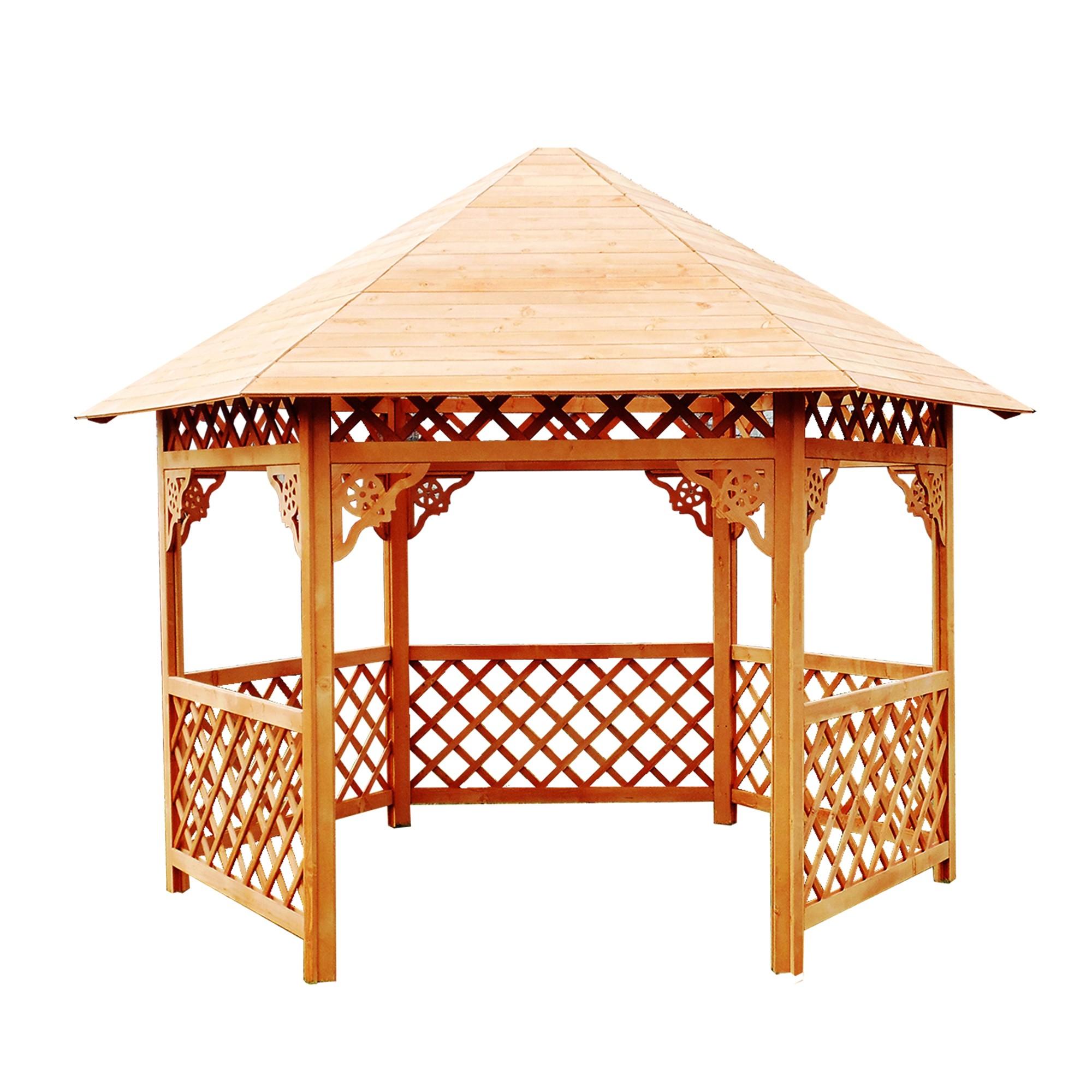 Dedeman Pavilion Gradina Hexagonal Din Lemn 3 5 X 4 X 3 2 M Dedicat Planurilor Tale