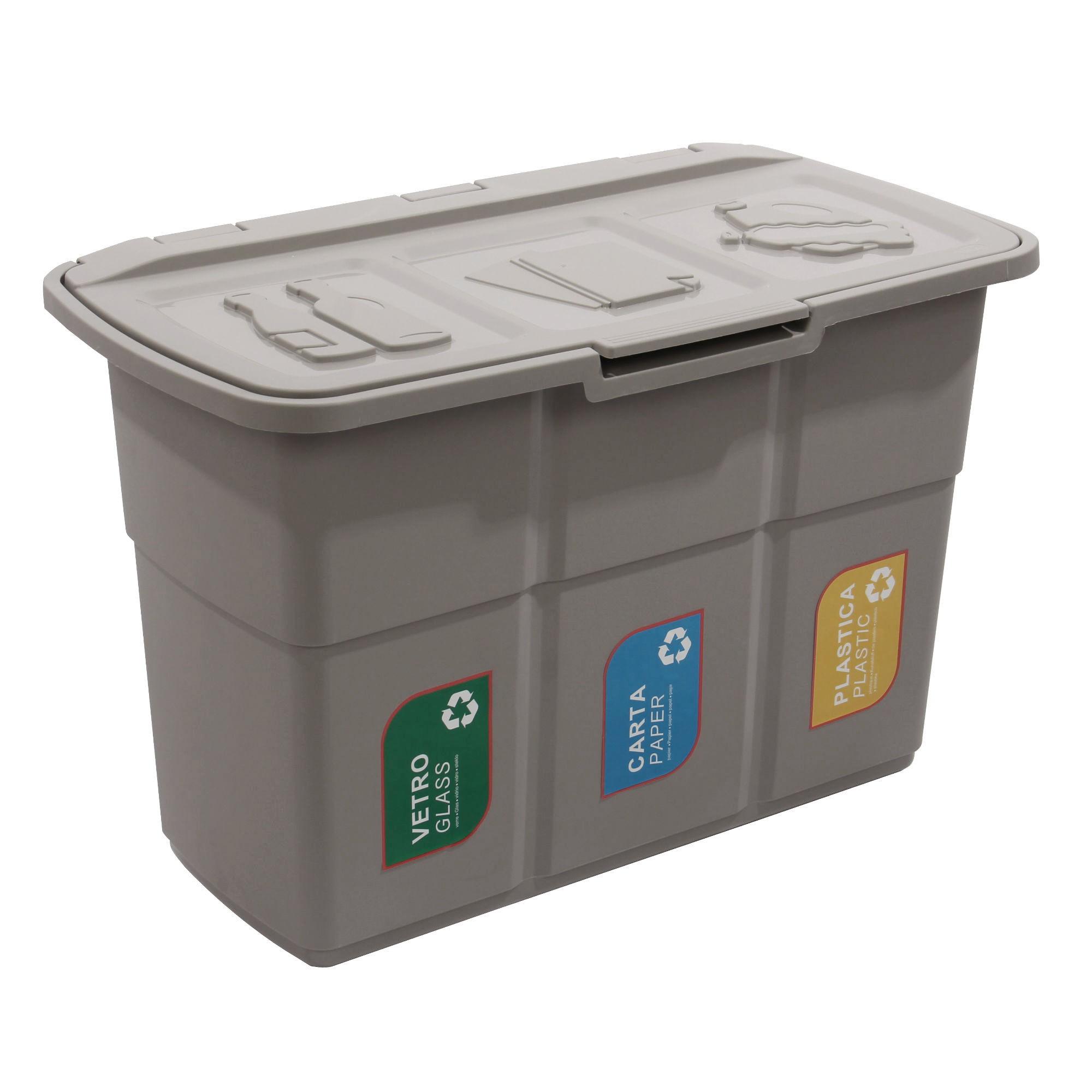 Cos Gunoi Colectare Selectiva Plastina Ecopat 83003 Din Plastic Forma Dreptunghiulara Diverse Culori Cu Capac 3 X 25l