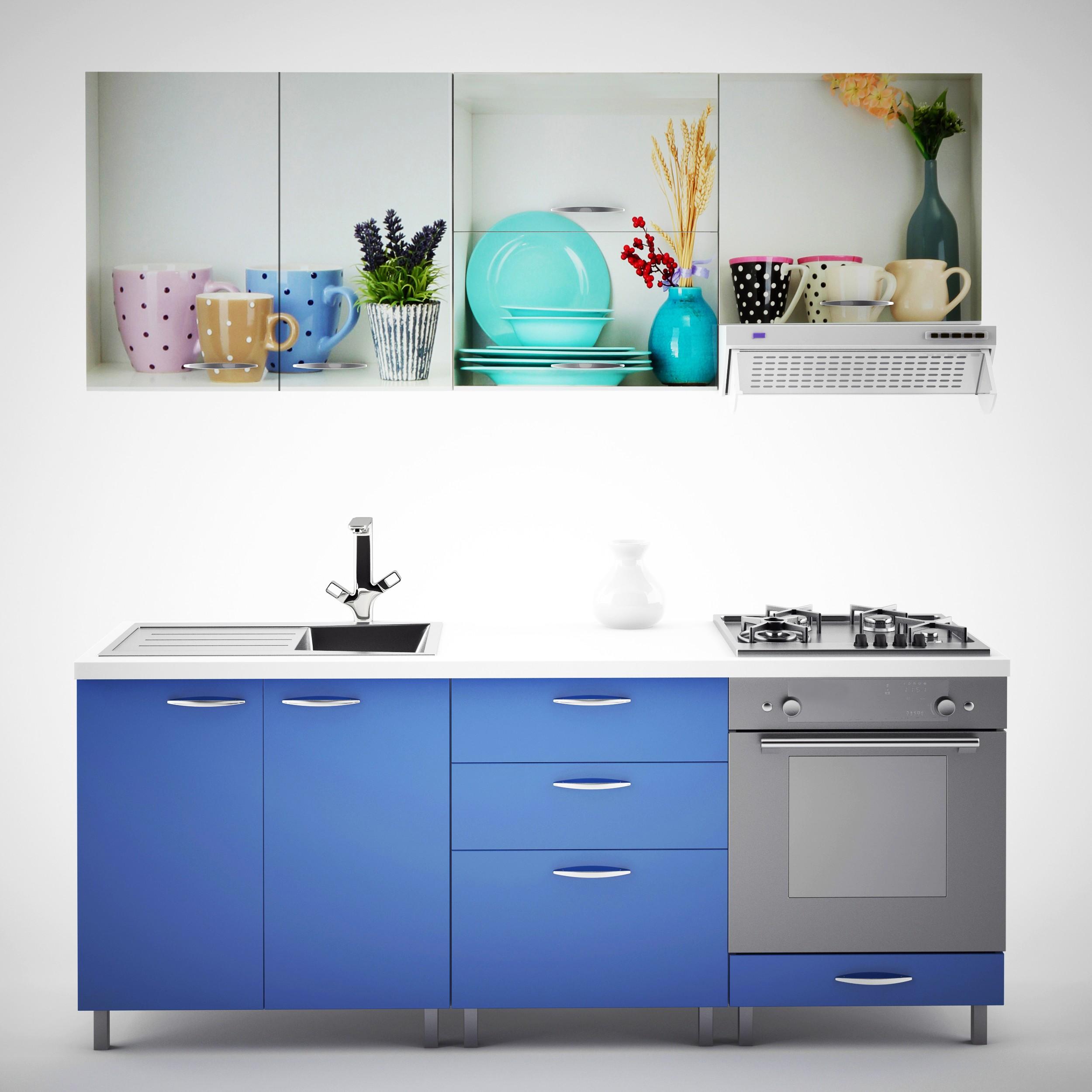 Dedeman Bucatarie Print Venus V17 Albastru Print Vesela 200 Cm