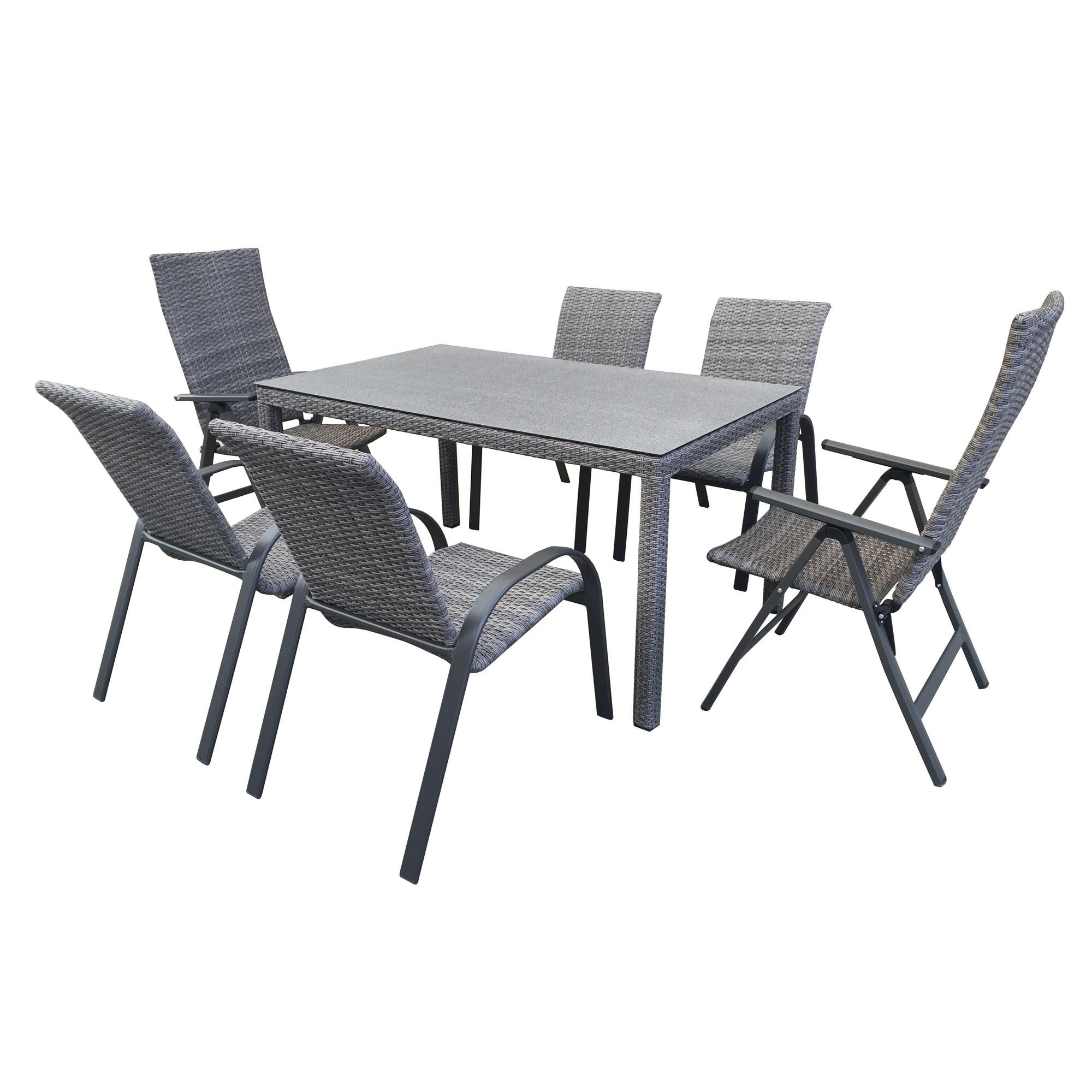 Dedeman set masa cu 6 scaune din metal cu ratan sintetic for Masa cu scaune dedeman