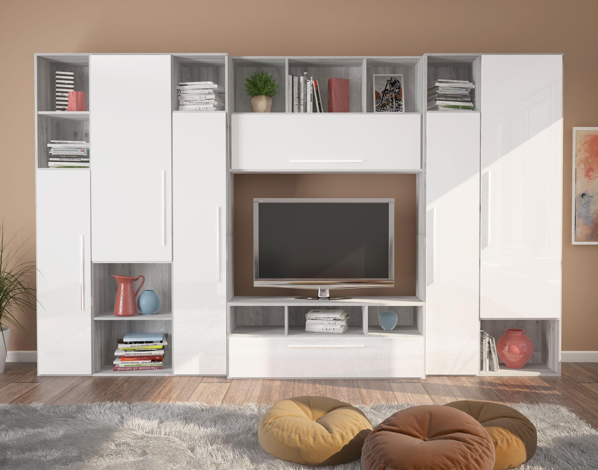 Dedeman Biblioteca Living Lana Gri A480 Alb Lucios 332 Cm 6c