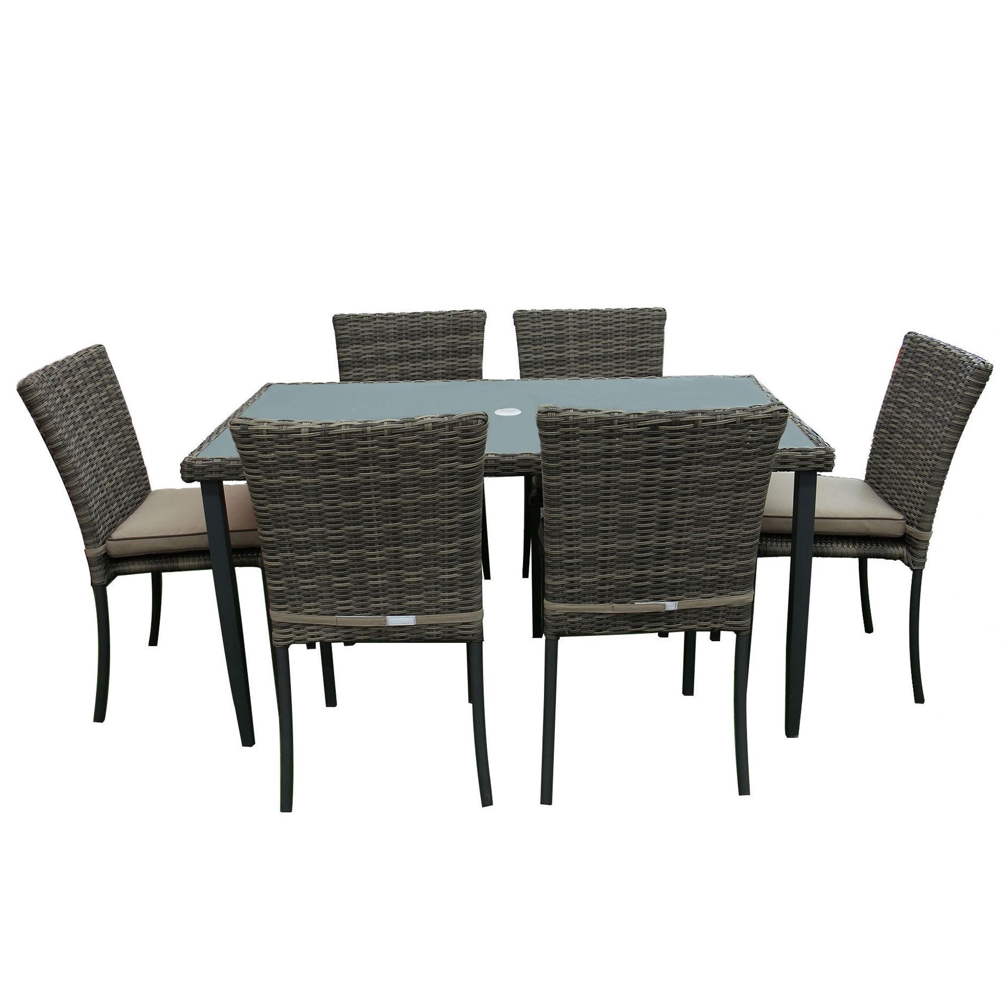Dedeman set masa cu 6 scaune cu perne pentru gradina atena for Masa cu scaune dedeman