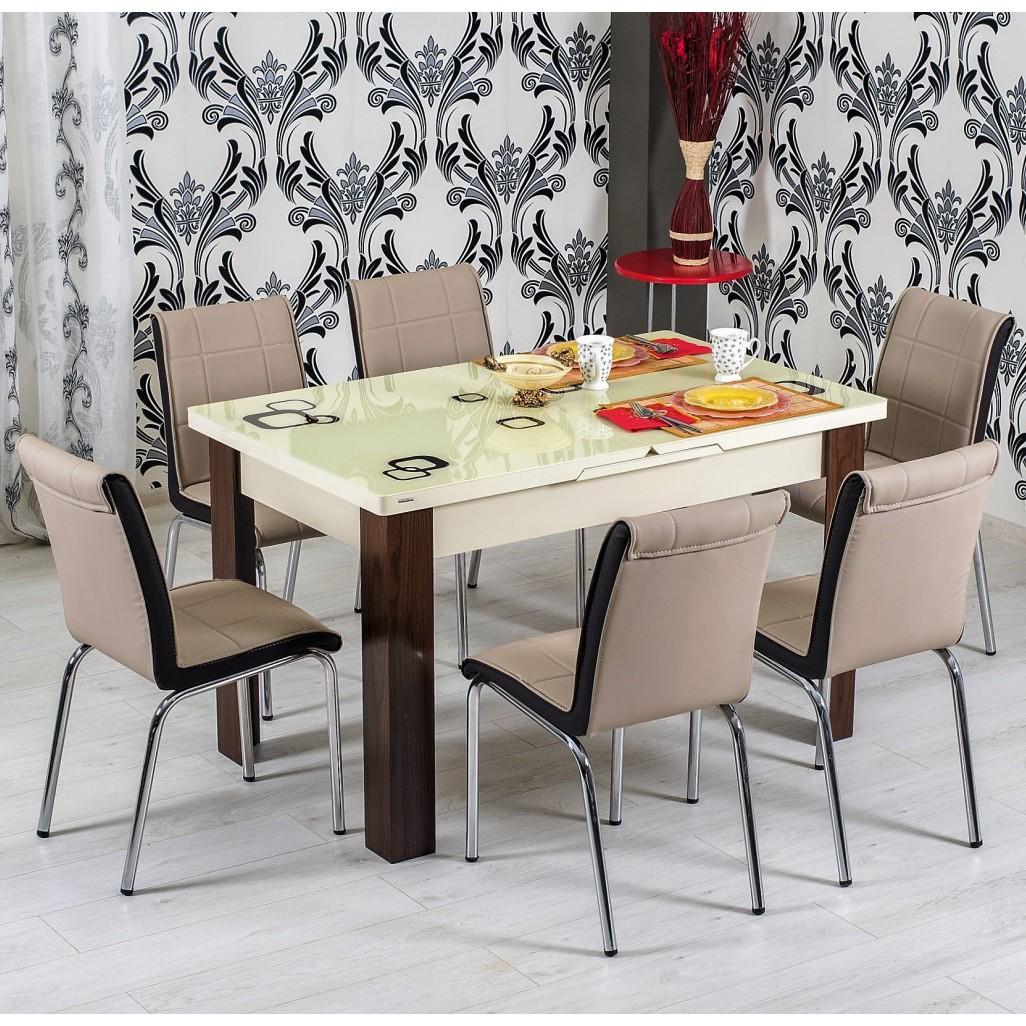 dedeman set masa extensibila cu 6 scaune tapitate r344