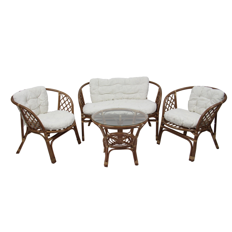 Dedeman Set Masa Rotunda Cu 2 Scaune 1 Canapea Cu Perne Pentru Gradina Bahama Sc 1900 Din Ratan Natural Dedicat Planurilor Tale