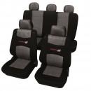 Huse auto pentru scaun, Petex, Carbon Grey, negru + gri, set 11 piese
