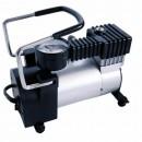 Pompa auto electrica metalica pentru anvelope, RoGroup, 12V, 150W, negru + gri, 25 x 18 x 2 cm