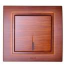 Intrerupator simplu cu indicator luminos Elbi Zena, incastrat, rama inclusa, cires