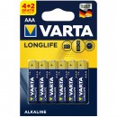 Baterie Varta Longlife Extra R3 / AAA, Primary Alkaline Manganese (ZN/MNO2), 6 buc
