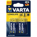 Baterie Varta Longlife Extra R6 / AA, Primary Alkaline Manganese (ZN/MNO2), 6 buc