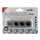 Priza bricheta Well, 3 iesiri de priza auto + 2 USB 2A 5V, 50W