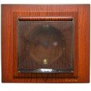 Priza simpla Mono Electric Larissa, incastrata, cu capac, contact de protectie, protectie copii, rama inclusa, cires
