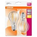 Bec LED Osram clasic A60 E27 7W lumina calda, cu filament - 2 buc