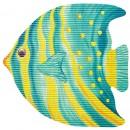 Covoras baie Friedola 77722, model peste, albastru / galben, 65 x 62 cm