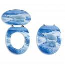 Capac WC din MDF Ferro Medvedi Nova, decor ursi polari, inchidere simpla, 375 x 455 mm