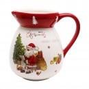 Carafa HC7027-H64, ceramica, 1.95 litri, alb + rosu, model Craciun
