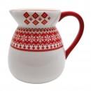 Carafa HC7027-N1, ceramica, 1.95 litri, alb + rosu, model Craciun