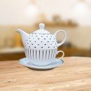 Set ceainic, ceasca si farfurioara, EY3349, portelan, alb + negru, 450 ml/250 ml