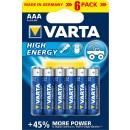 Baterie Varta Energy, R3/ AAA, Primary Alkaline Manganese (ZN/MNO2), 6 buc