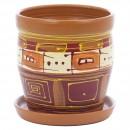 Ghiveci ceramic, diverse culori, rotund, D 15 cm