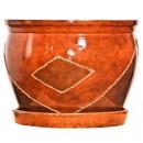 Ghiveci ceramic D25/1, maro, rotund, 25 x 20 cm