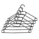 Umerase haine Napochim, polipropilena, cu carlig rotativ, 40 x 21.5 cm, negru, set 5 bucati
