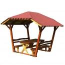Foisor gradina dreptunghiular din lemn cu masa si 2 banci 2,6 x 1,8 x 2,2 m