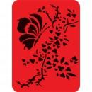Sablon decorativ perete, living, model flori si fluturi, DXL339, 43 x 56 mm
