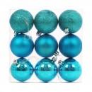 Globuri Craciun, albastre, D 6 cm, set 9 bucati, N3/6009ABY