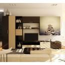 Biblioteca living Valentino, bej + brun + print pietre pe apa, 360 cm, 8C