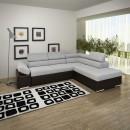 Coltar living extensibil pe stanga Magic, cu lada, gri + maro, 260 x 205 x 90 cm, 3C