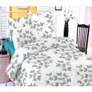 Lenjerie de pat, 2 persoane, Deluxe Pucioasa Filly blue, bumbac 100%, 4 piese, alb + albastru + galben