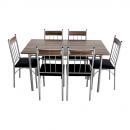 Set masa fixa cu 6 scaune tapitate AA0180, bucatarie, maro + negru