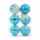 Globuri Craciun, albastru deschis, D 7 cm, set 6 bucati, SY16CBA-165