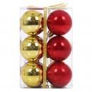 Globuri Craciun, rosu + auriu, D 6 cm, set 12 bucati, SY16CBA-399