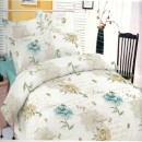 Lenjerie de pat, 2 persoane, Deluxe Pucioasa, bumbac 100%, 4 piese, crem + albastru