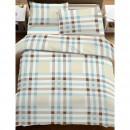 Lenjerie de pat, 2 persoane, 2014182, bumbac 100%, 4 piese, crem + bleu + maro