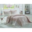 Cuvertura de pat + fete de perna, Simay J026238802, poliester, roz + alb, 260 x 260 cm