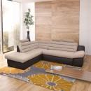 Coltar living extensibil pe dreapta Wog, cu lada, maro + bej, 270 x 225 x 100 cm, 3C