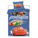 Lenjerie de pat, copii, 1 persoana, Cars Racers, bumbac, 2 piese, multicolor