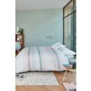 Lenjerie de pat, 2 persoane, Lune pastel, bumbac 100%, 4 piese, alb + portocaliu + verde