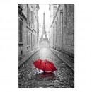Tablou dualview BLACK1321, Umbrela rosie in Paris, canvas + lemn de brad, stil orase si arhitectura, 60 x 90 cm