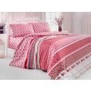 Lenjerie de pat, 2 persoane, Latte Bia Kirmizi, policoton, 4 piese, rosu + alb