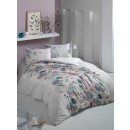 Lenjerie de pat, 2 persoane, Latte Lorena, policoton, 4 piese, alb + roz + turcoaz