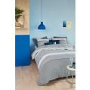 Lenjerie de pat, 2 persoane, Teje, bumbac 100%, 4 piese, albastru + gri