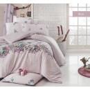 Lenjerie de pat, 2 persoane, Birce, bumbac 100%, 4 piese, roz